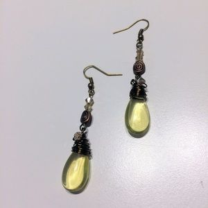 Yellow glass beaded briolette Earrings